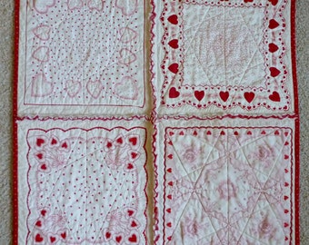 Red and White Valentine Hankie Wall Hanging