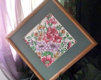 Recycled framed quilted spring bouquet hankie