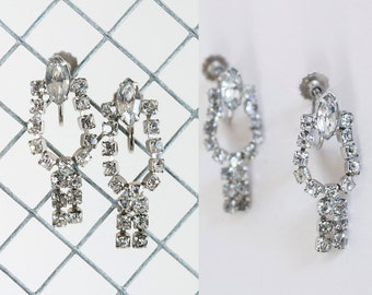 Vintage 50s Earrings / 1950s Clear Rhinestone Horseshoe Screwback Drop Earrings