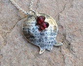 Pomegranate Necklace Bat Mitzvah Gift, Sterling Silver Necklace with Garnets Judaica Jewelry Gift For Teens, Pomegranate Pendant