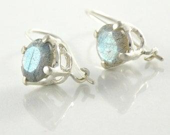 Labradorite Earrings, Sterling Silver Labradorite Earrings, Labradorite Jewelry Gift For Women, Round Faceted Gemstone Earrings