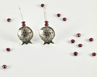 Pomegranate Earrings Bat Mitzvah Gift, Red Garnet Earrings in Sterling Silver, Judaica Jewelry, Pomegranate Jewelry dangle earrings