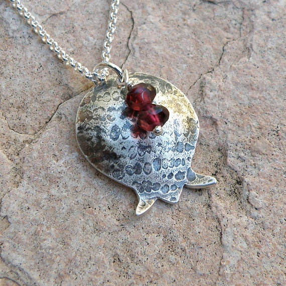 Pomegranate Necklace Bat Mitzvah Gift, Holidays Gift Sterling Silver Necklace with Garnets, Pomegranate Pendant For Women Teens Girls