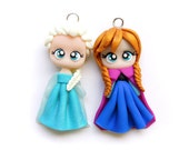 SALE - Elsa and Anna - Miniature Sculpture - Charm Figurine