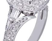 14k White Gold Princess Cut Diamond Engagement Ring Deco Halo Filigree1.80ctw