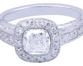 GIA H VS2 14k White Gold Cushion Cut Diamond Engagement Ring Bezel Deco 1.60ctw