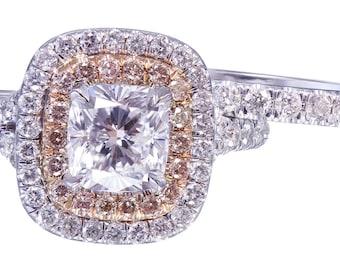 14K White Gold Cushion Cut Diamond Engagement Ring And Band 1.90ct G-VS2 EGL USA