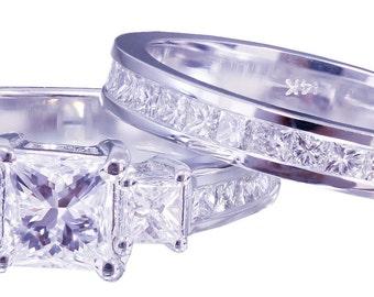 14k white gold princess cut diamond engagement ring and band 2.00ctw E-VS2 EGL USA