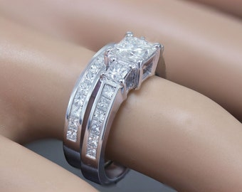 GIA F-VS2 14k white gold princess cut diamond engagement ring and band 2.00ctw