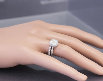 14k White Gold Cushion Cut Moissanite and Diamond Engagement Ring And Band 2.90ct