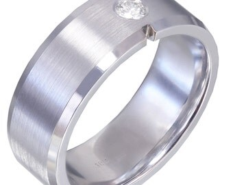 18k White Gold Round Cut Diamond Mens Band 8mm Width Brushed Polished 0.15ct