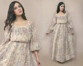 70s Floral Maxi Dress Blouson Gauze 1970s Romantic Hippie Balloon Sleeves Cream Sheer Boho Bohemian / Size M Medium