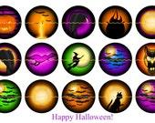 "Halloween Magnets, Halloween Pins, Halloween Favors, Halloween Fridge Magnets, 1"" Flat, Hollow Bk, Cabochons, 12 ct"