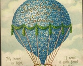Embossed Vintage Valentine Postcard Hot Air Balloon of Forget-me-Nots With Large Red Heart 1911