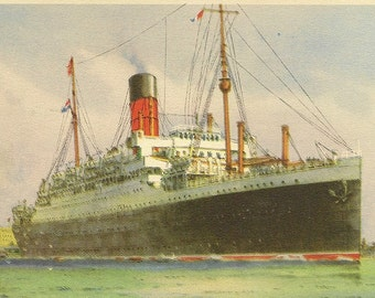 Unused Vintage Postcard Cunard White Star AUSONIA in Harbour – Superb Shipping Collectible