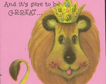 Vintage Party Invitations Lion King and Little Mouse Set of 6 with 7 Envelopes Carlton Cards 1972