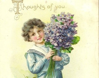 Antique Tuck & Sons Birthday Postcard – Young Boy With Large Bouquet of Violets 1912