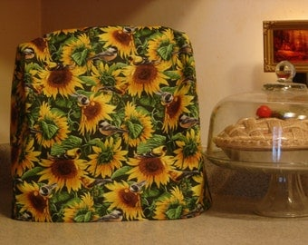 Arti KitchenAid mixer DUST COVER only,  SUNFLOWERS with Birds  For 4.5- 5 qt Tilt Head