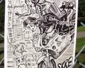 GOODBYE KITTY Postcard by David Jablow Doodle Pad Art 5x7 Glossy