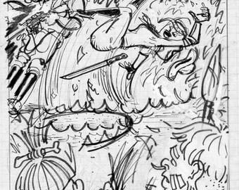 Original Preliminary Sketch by David Jablow 2016 Thumbnail Art Collage Drawing C