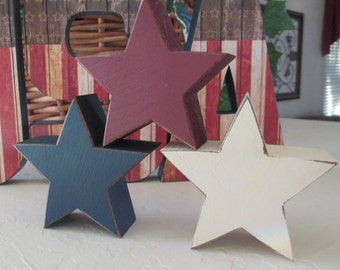 Staking Wooden Stars- July 4th - Fourth of July - American Wooden Stars