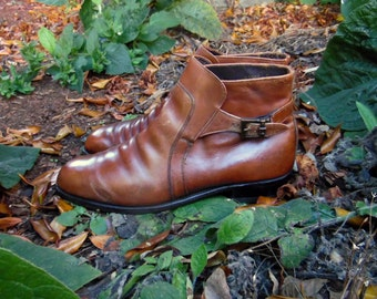 80s/90s Milk Chocolate Leather Mod Beatle Hipster Rocker Boots Mens 10.5