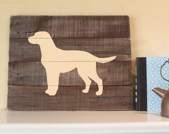 Yellow Lab, Silhouette, Reclaimed Wood Sign, Art, Labrador Retriever, Hand-painted sign, 14 x 16, wall art, rustic, dog, gift, I Love Labs