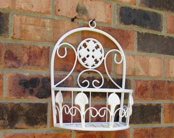 Vintage Metal Basket Floral Wall Hanging Inside or Outside Wrought Iron Planter Inside or Outside
