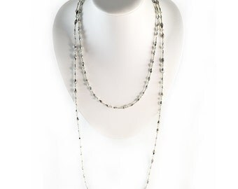 Double Wrap Necklace - Silver- Wrap Necklace - 44 inches