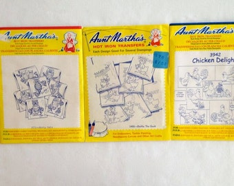 Aunt Martha's Hot Iron Transfers - 3 packages – Hooty Owls, Chicken Delight, Dottie the Duck