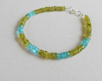 Gemstone bracelet Blue Apatite Green Peridot  /  7  inches long / silver 925