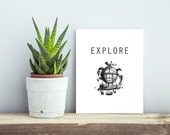 Explore Print. Instant Download. Travel. Air Ship. Black and white. 8x10 Print. Printable. Print Your Own Art. Typography. Vintage.