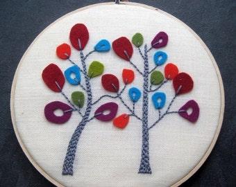 On Sale Trees in Bloom. hand embroidered. wool felt. hoop art. home decor. housewarming gift. wedding gift. wall wear. handmade embroidery.
