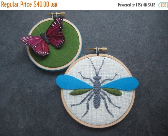 Christmas in July Sale Wasp Butterfly hand embroidered hoop art home decor wall decoration aqua green purple by mlmxoxo