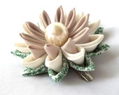 Kanzashi Water Lily Hair Flower Folded Fabric Origami Unique Gift for Her Green and Cream