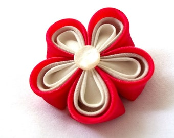Red Kanzashi Flower Hair Clip Unique Fabric Origami Barrette