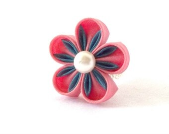 Pink Sakura Ring Kawaii Jewelry Tsumami Kanzashi Statement Ring Adjustable