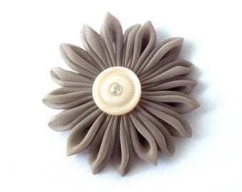 Neutral Colors Taupe Fabric Flower Hair Clip Kanzashi Barrette