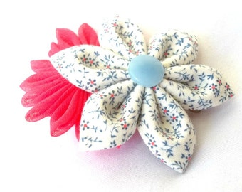 Kanzashi Flower Barrette Fabric Hair Flower Blue and Pink Fabric Origami