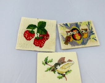 Small Vintage Needlework Pictures Strawberries, a Bird and Some Cute Owls