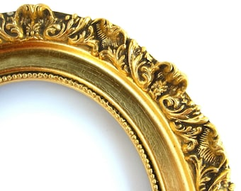 Gold Leaf Wood Baroque Picture Frame, Ornate Oval Gallery, 8x10 New Old Stock, 14K 18K Gilt