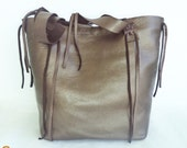 brown bronze leather handbag tote with fringe by Tuscada. Ready to ship