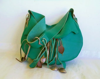 teal turquoise leather handbag shoulder purse with silver leaf fringe by Tuscada. Ready to ship.