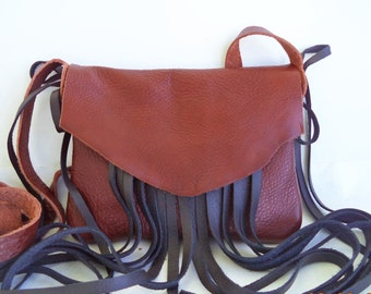 light brown black leather handbag, shoulder purse with fringe by Tuscada. Ready to ship.