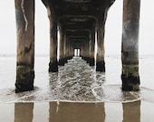 Clearance Sale, Manhattan Beach, Pier Photograph, Nautical Decor, Beach Art, Brown Decor, Coastal Art, On Sale Art, 8x10 Print