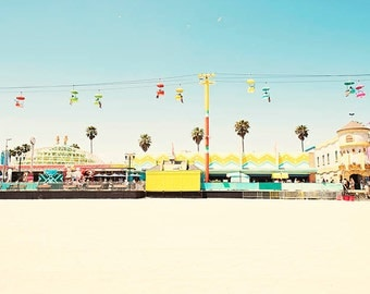 Santa Cruz Boardwalk, California Beach Photography, Pastel Bright Colors, Palm Trees, Sky Gliders, Santa Cruz Beach Print, Colorful Decor