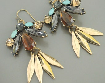 Tassel Earrings - Topaz Earrings - Antique Gold Earrings - Smokey Quartz Earrings - Drop Earrings - Fall Earrings - Handmade Jewelry