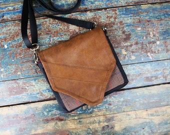 NEW Leather Travel Bag Cross Body Shoulder Bag for Iphone 6 Plus Camera Accessories Messenger Plaid Tartan