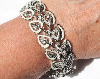 CORO White Enamel and Silver-Tone Multi-Link Leaf Design Bracelet