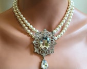 Pearl Backdrop Necklace Earrings Set with Rhinestone Brooch 2 multi strands Swarovski Pearls bridal necklace wedding necklace bridal necklac